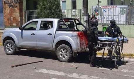 Traslado a oficial herido en Temucuicui.