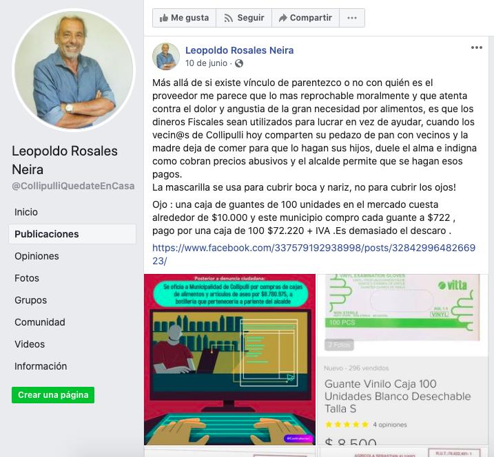 Captura de Pantalla Facebook Leopoldo Rosales