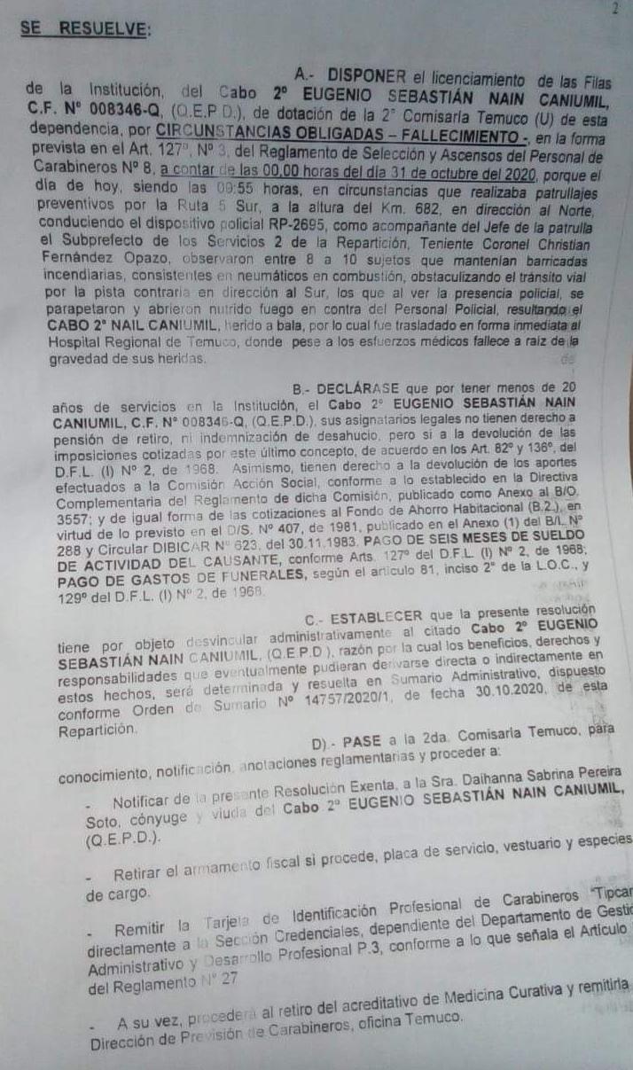 RES Carabinero Eugenio Nain