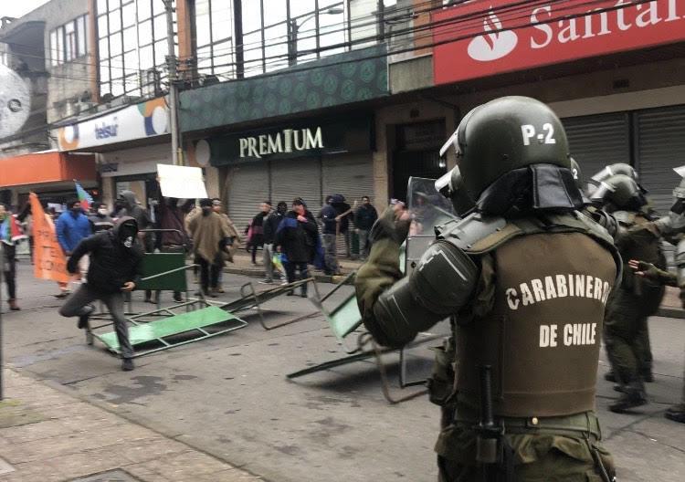 Protesta de comuneros mapuche.