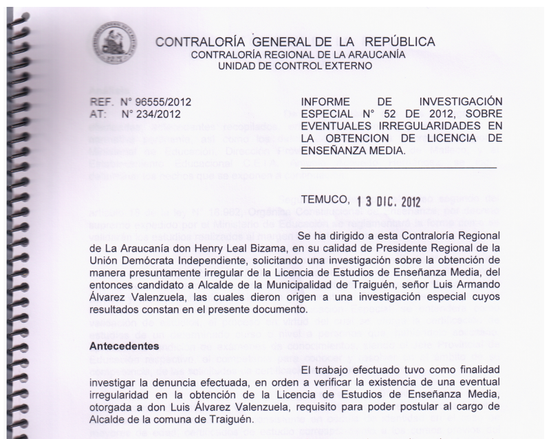 Informe Contraloría denuncia UDI a Luis Alvarez