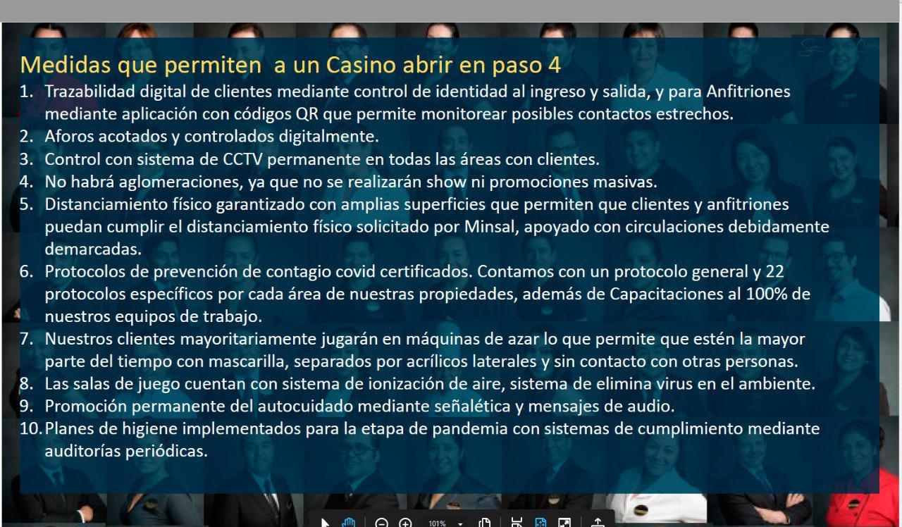 Medidas para apertura de casinos.