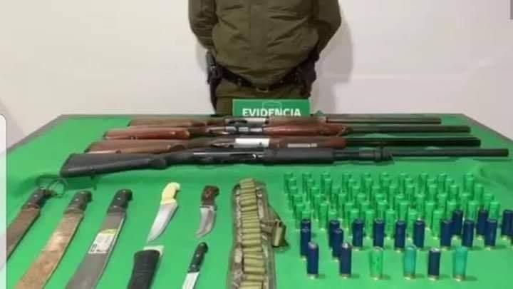 Armas incautadas en Carahue.