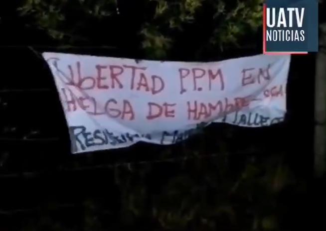 Lienzo en atentado incendiario (Imagen: UATV Noticias).
