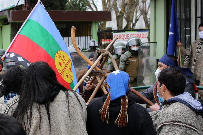 Manifestación en cercanías a estadio Germán Becker.